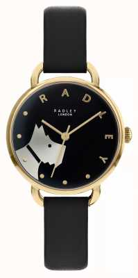 Radley Rue du bois | bracelet en cuir noir | cadran noir motif chien | RY2876