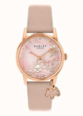 Radley Floral botanique | bracelet en cuir nude | cadran floral rose | RY2884
