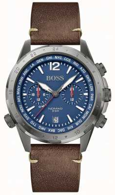 Boss | nomade des hommes | bracelet en cuir marron | cadran bleu | 1513773