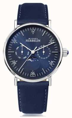 Michel Herbelin Montre Inspiration Moonphase Bracelet Cuir Bleu Inoxydable 12747/AP15BL