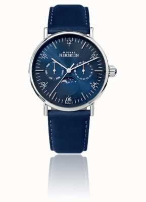 Michel Herbelin Bracelet en cuir bleu acier inoxydable moonphase Montre inspiration 12747/AP15BL