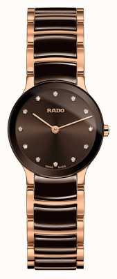 Rado Centrix diamants en céramique blanche et or rose R30190702
