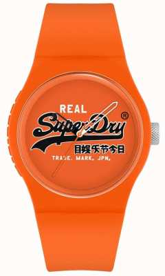 Superdry Original urbain | bracelet en silicone orange | cadran d'impression orange | SYG280OB
