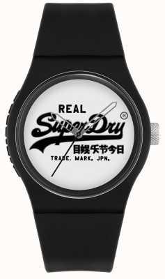 Superdry Original urbain | bracelet en silicone noir | cadran blanc | SYG280BW