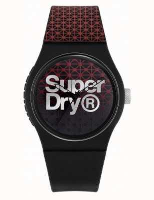 Superdry Géo sport urbain | bracelet en silicone noir / rouge | cadran noir / rouge SYG268R