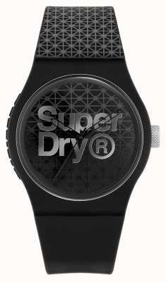 Superdry Géo sport urbain | bracelet en silicone noir / gris | cadran noir / gris SYG268B