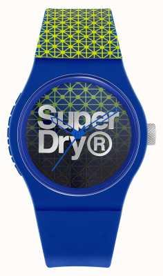 Superdry Géo sport urbain | bracelet en silicone bleu / vert | cadran bleu / vert SYG268UN