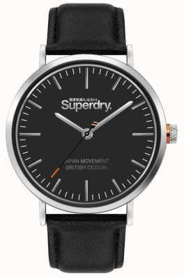 Superdry Oxford | bracelet en cuir noir | cadran noir | SYG287B
