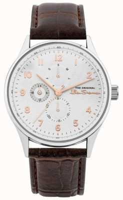 Ben Sherman Bracelet en cuir marron pour hommes | multi cadran blanc | BS021BR