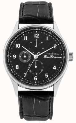 Ben Sherman Bracelet en cuir noir pour hommes | multi cadran noir | BS021B