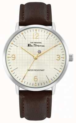Ben Sherman Bracelet en cuir marron pour hommes | cadran de soleil blanc cassé | BS025BR