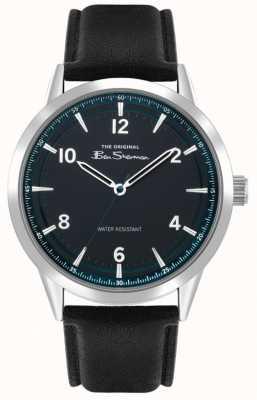 Ben Sherman Bracelet en cuir noir pour hommes | turquoise sunray dial | BS023B