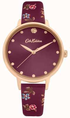 Cath Kidston Bracelet en cuir à imprimé fleuri pour femme | cadran prune | CKL089R