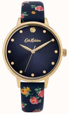 Cath Kidston | bracelet en cuir fleuri bleu marine pour femme | cadran marine | CKL089U