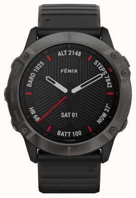Garmin Fenix 6x saphir | dlc gris carbone | bracelet en caoutchouc noir 010-02157-11