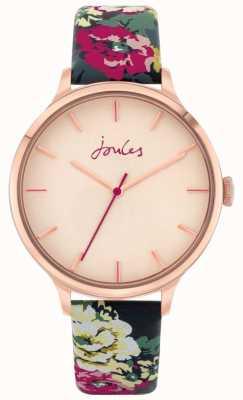 Joules '30e anniversaire' | bracelet en cuir fleuri | cadran rose | JSL028UPRG