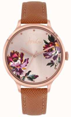 Joules | tillbury femmes | bracelet en cuir beige | cadran floral | JSL021TRG