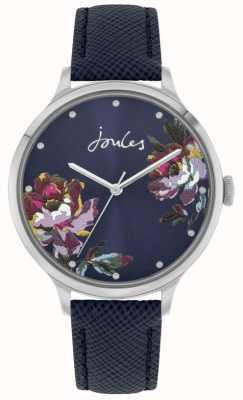 Joules Payton femmes | bracelet en cuir bleu | cadran floral bleu | JSL021U