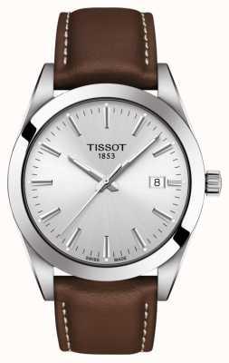 Tissot | monsieur | bracelet en cuir marron | cadran argenté | T1274101603100