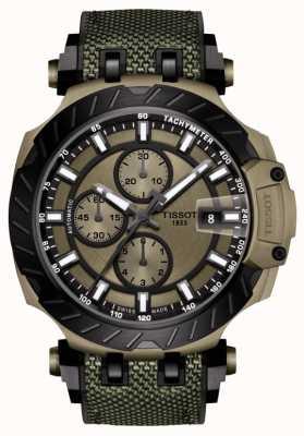 Tissot | t-race | chronographe automatique | bracelet en caoutchouc vert | T1154273709100