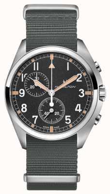Hamilton Pilote d'aviation kaki | bracelet nato gris | cadran noir H76522931