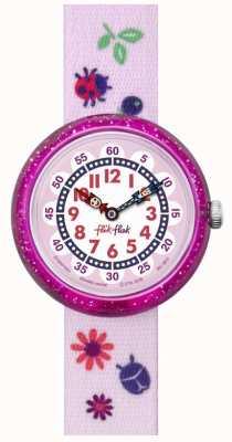 Flik Flak | couleurs d'automne | bracelet imprimé rose | cadran blanc / rose | FBNP093