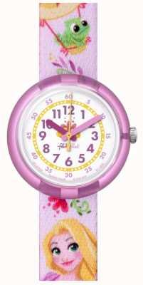 Flik Flak | Disney Rapunzel | bracelet imprimé rose | cadran blanc | FLNP028