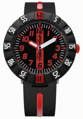 Flik Flak | rouge à venir | bracelet plastique noir | cadran noir / rouge | FCSP079