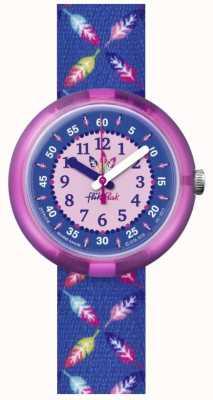 Flik Flak | plume cool | bracelet en tissu imprimé plumes bleu | cadran bleu FPNP016