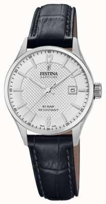 Festina | swiss made femme | bracelet en cuir noir | cadran argenté | F20009/1