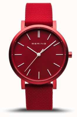 Bering | vraie aurore | bracelet en caoutchouc rouge | cadran rouge | 16934-599