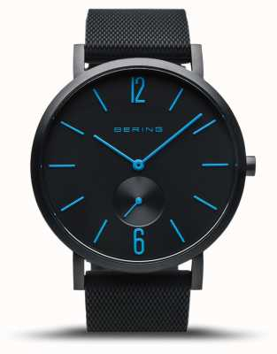 Bering | vraie aurore | bracelet en caoutchouc noir | cadran noir | mains bleues 16940-499