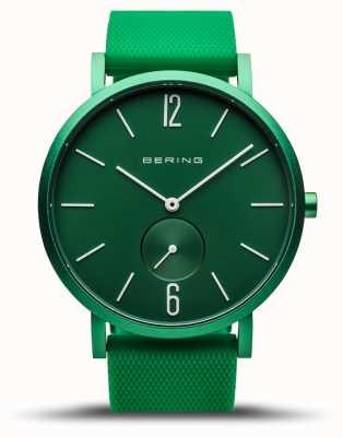 Bering | vraie aurore | bracelet en caoutchouc vert | cadran vert | 16940-899