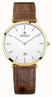 Michel Herbelin | epsilon hommes | bracelet en cuir marron | cadran argenté | 19406/P11GO
