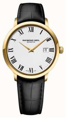 Raymond Weil Mens | toccata | bracelet en cuir noir | cadran blanc 5488-PC-00300
