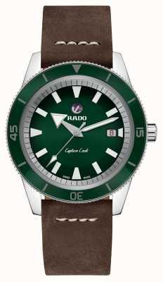 RADO Cadran vert en cuir marron 'Captain Captain' XL R32505315