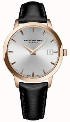Raymond Weil Femmes | toccata | bracelet en cuir noir | cadran argenté 5388-PC5-65001