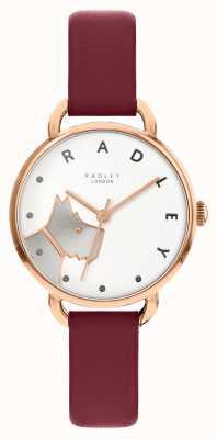 Radley | rue du bois des femmes | bracelet en cuir merlot | cadran blanc pour chien RY2874