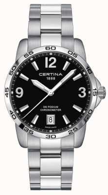 Certina Ds podium 40mm | bracelet en acier inoxydable | cadran noir | C0344511105700