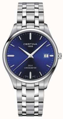 Certina Chronomètre Ds-8 | bracelet en acier inoxydable | cadran bleu | C0334511104100