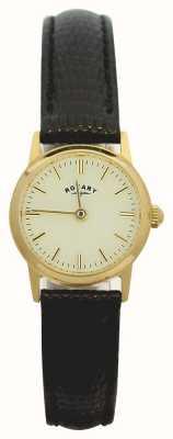 Rotary 9ct boîtier en or des femmes de bracelet en cuir LS11476/03