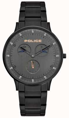 Police | berkeley des hommes | bracelet en acier noir | cadran gris | 15968JSB/39M