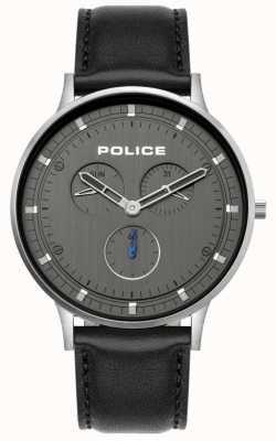 Police | berkeley pour hommes | bracelet en cuir noir | cadran gris | 15968JS/39