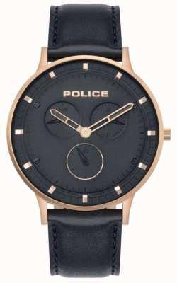 Police | berkeley des hommes | cuir bleu foncé | cadran bleu 15968JSR/03