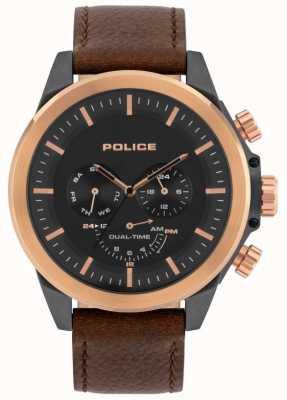 Police | belmont hommes | bracelet en cuir marron | cadran noir | 15970JSUR/02
