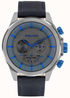 Police | belmont hommes | bracelet en cuir bleu | cadran bleu / gris | 15970JSU/61