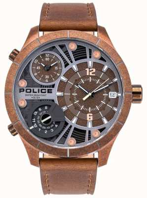 Police | bushmaster des hommes | bracelet en cuir marron | cadran marron | 15662XSQR/12