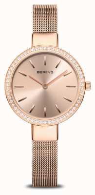 Bering | classique des femmes | maille d'or rose | lunette sertie de cristal 16831-366
