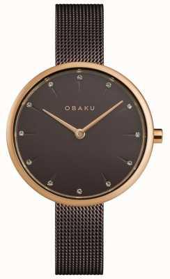 Obaku | notat noix des femmes | bracelet en maille marron | cadran marron | V233LXVNMN
