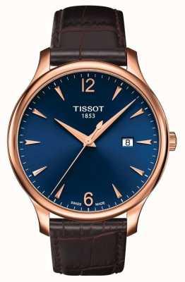 Tissot | tradition des hommes | bracelet en cuir marron | cadran bleu | T0636103604700